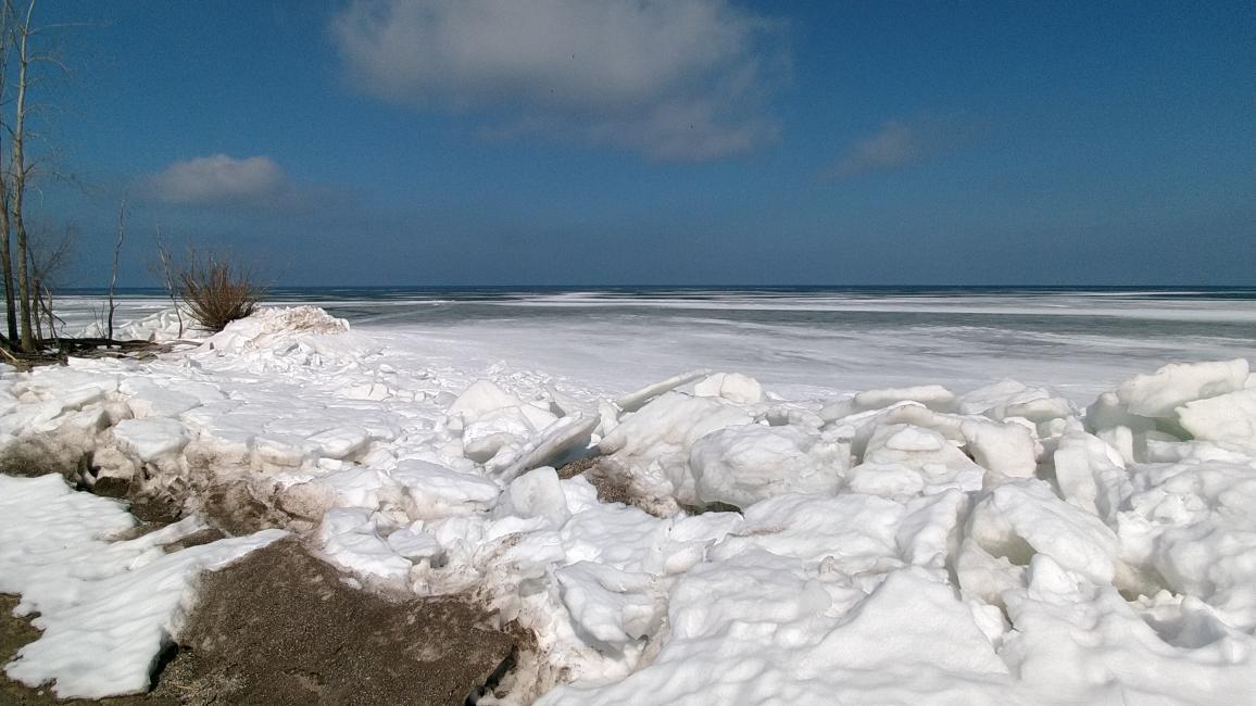 Open water-lake-erie-crane-creek-shoreline-ice-ice-shoves-water-022721-jpg